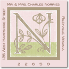 Name Doodles - Square Address Labels/Stickers (Floral Caps Pink)